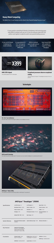 AMD Ryzen Threadripper 2990WX Processor 64MB 3GHz 32 Core 64 Thread Desktop  CPU YD299XAZAFWOF