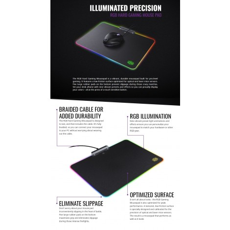 Cooler Master RGB Hard Gaming Mouse Pad Low-friction Surface Black MPA-MP720