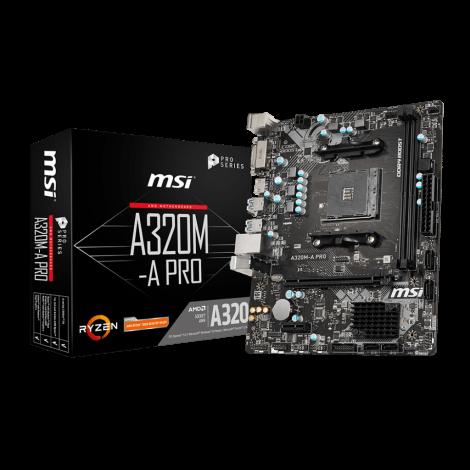 MSI A320M-A PRO AMD mATX Motherboard AM4 Ryzen DVI HDMI