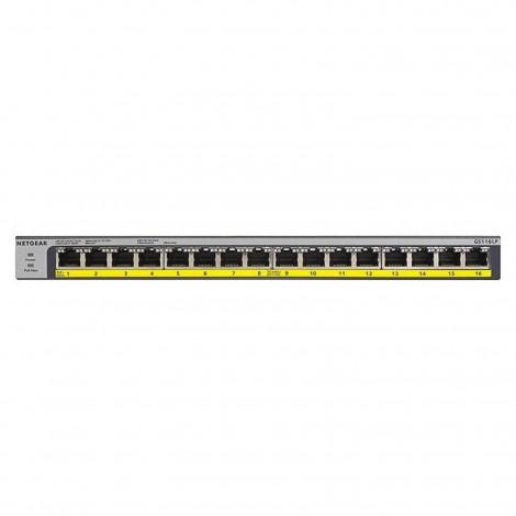 NETGEAR GS116LP16-Port PoE/PoE+ Gigabit Ethernet Unmanaged Switch with 76W PoE GS116LP-100AJS