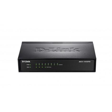 D-Link 8-Port 10/100Mbps PoE Unmanaged Switch (Metal Housing) POE DES-1008PA