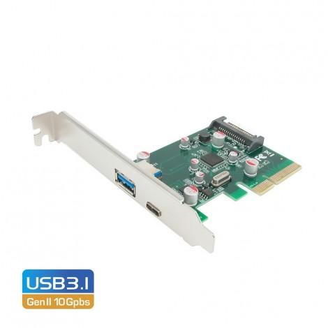 Simplecom PCI-E 2.0 x4 to 2 Port USB 3.1 Gen II 10Gpbs Type-C & Type-A Host Card EC312