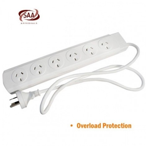 CABAC 6 Way Powerboard Overload Protection PB8 6 Outlets ELELEGPB86WAYWH_B