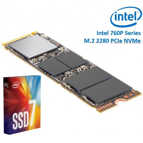 Intel 760P Series M.2 80mm 1000GB 1TB SSD 3D2 TLC PCIe NVMe 3230/1625MB/s 340K/275K IOPS 1.6 Million Hours MTBF Solid State Drive 5yrs
