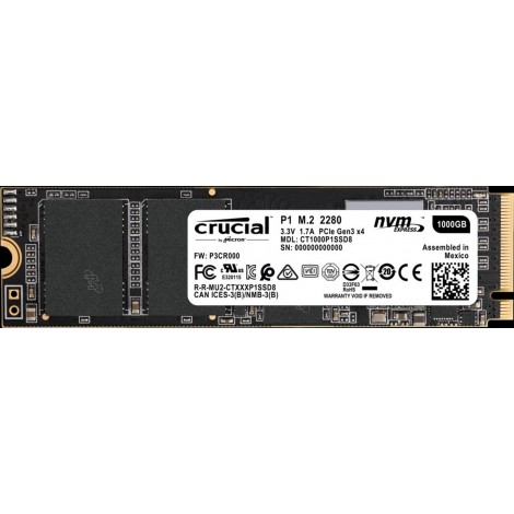 Crucial P1 1TB M.2 NVMe PCIe 3.0 X4 Internal Solid State Drive SSD 2000MB/S CT1000P1SSD8