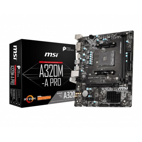 MSI A320M-A PRO AMD mATX Motherboard - AM4 Ryzen 2xDDR4 2xPCI-E 4xSATAIII RAID LAN 6xUSB3.2 6xUSB2.0 DVI-D HDMI