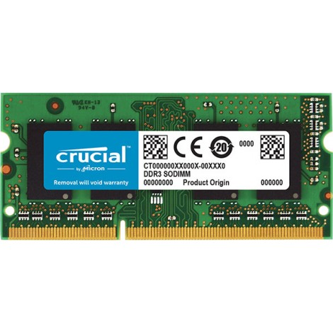 Crucial 4GB (1x4GB) DDR3 SODIMM 1600MHz 1.35V Single Ranked Single Stick Notebook Laptop Memory RAM