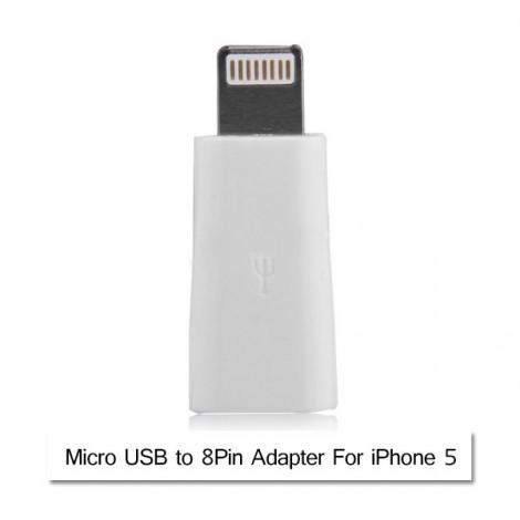 Micro USB to 8pin Adapter for iPhone 5S/5C/5/iPad Air/iPad Mini/iPod Nano7/Touch 5