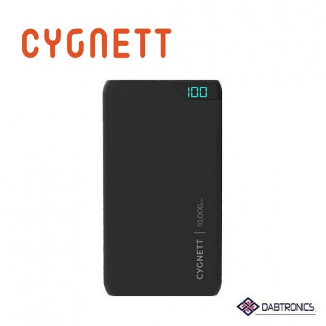 Cygnett ChargeUp Boost 10K Powerbank - Black - With Micro USB to USB-A cable, 10,000Mah (18.5Wh) Lithium Polymer Battery, Digital Display (0-100%)