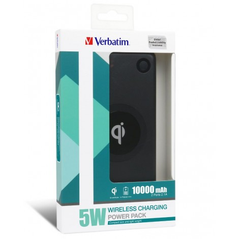 Verbatim Li-polymer Qi 5W Wireless Charging Power Pack 10,000mAh - Black (LS�