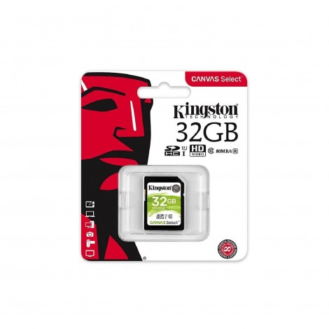 Kingston 32GB SD UHS-I Canvas Select 80MB/s Class 10 Memory Card SDS/32GB