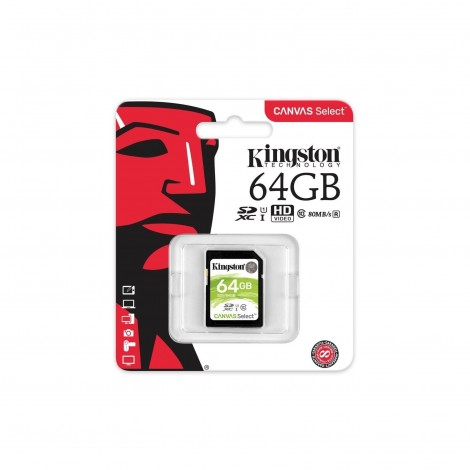 Kingston 64GB SD UHS-I Canvas Select 80MB/s Class 10 Memory Card SDS/64GB