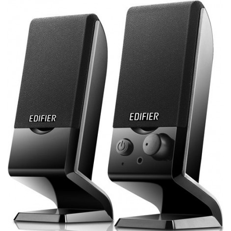 Edifier M1250 2.0 USB Powered Compact Multimedia Speakers - 3.5mm AUX/Flat Panel Design Satellites/Built in Power/Volume controls/Black