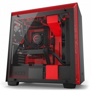 NZXT H700i Smart Matte Black/Red ATX Case, T/G Side Window, No PSU