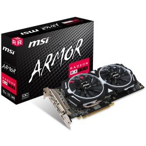 MSI AMD Radeon RX 580 Armor OC 8GB GDDR5 Gaming Graphics Video Card HDMP DP DVI