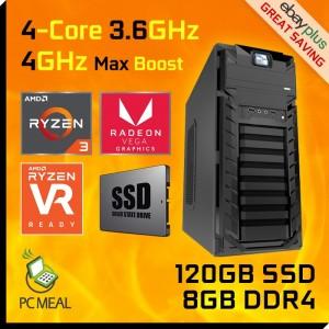AMD 4-Core Ryzen 3 3200G Max 4GHz 120GB 8GB Radeon Vega 8 Gaming Computer Desktop PC