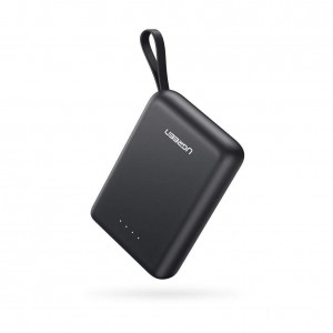 UGREEN 60452 10000mAh Mini Power Bank Dual USB-A + Type C with Strap 2.1A  (Black)