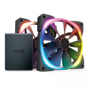 NZXT Aer RGB 2 140mm PWM Fan 2 Pack with HUE 2 Lighting Controller