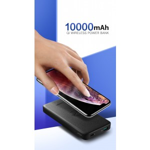 UGreen 10000mAh  Power bank  with 10W QI Wireless Charging Pad - Black 50578