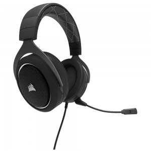 Corsair HS60 Gaming Headset Headphones with Mic PC Mac PS4 Xbox One Black/White CA-9011174-AP