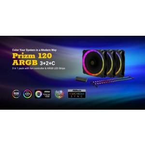 Antec Prizm 120mm ARGB Fan 3+2+C 3x RGB Dual Ring PWM FAN, 2 x LED Strip, and 1x RGB Fan Controller. 2 Years Warranty