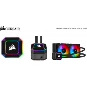 Corsair H100i Elite CAPELLIX 240mm Radiator Black, 2x ML120 RGB PWM Fans, Ultra Bright RGB Pump Head. Liquid Cooling. 5 Yrs Warranty.