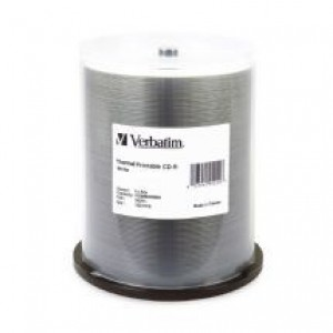 Verbatim CD-R 700MB/52X Storage Capacity, Compatible with CD drives up to 52X Speed 100Pk White Thermal (LS)