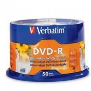 Verbatim DVD-R 4.7GB 50Pk White InkJet 16x