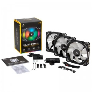 Corsair ML120 Pro RGB 3-Pack 12cm PWM Premium Magnetic Levitation w Fan Lighting Node Pro CO-9050076-WW