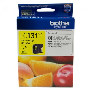 Brother LC-131Y Yellow Ink Cartridge - to suit DCP-J152W/J172W/J552DW/J752DW/MFC-J245/J470DW/J475DW/J650DW/J870DW - up to 300 pages