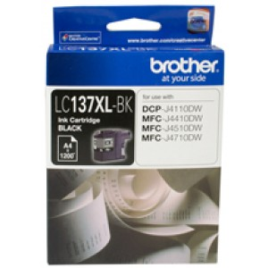Brother LC-137XLBK  Black Ink Cartridge- DCP-J4110DW/MFC-J4410DW/J4510DW/J4710DW - up to 1200 pages
