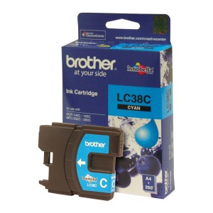 Brother LC-38C Cyan Ink Cartridge- to suit DCP-145C/165C/195C/375CW, MFC-250C/255CW/257CW/290C/295CN- uo to 260 pages