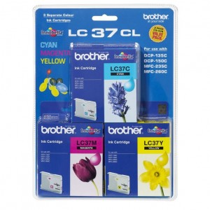 Brother LC-37 Colour Value Pack, 1X Cyan 1X Magenta 1X Yellow