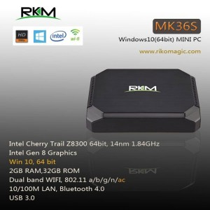 RKM MK36S SMART TV BOX Cherry Trail Z8300 WIN10 2G 32G DUAL BAND WIFI BT4.0