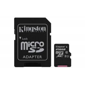KINGSTON  Canvas Select:MicroSD 256GB , 80MB/s read and 10MB/s write with SD adapter SDCS/256GB
