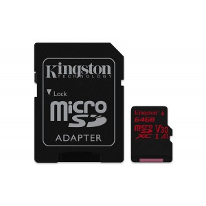 KINGSTON  Canvas React: MicroSD 64GB, 100MB/s read and 70MB/s write with SD adapter SDCR/64GB