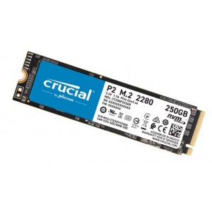 Crucial P2 250GB M.2 (2280) NVMe PCIe SSD - QLC NAND 2100/1150MB/s 150TBW 1.5mil hrs MTBF SMART & TRIM Acronis True Image Cloning Software 5yrs