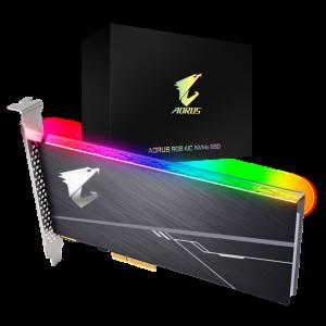 Gigabyte AORUS AIC PCIe x4 NVMe SSD 1TB - 3480/3080 MB/s 610K/530K IOPS 3D TLC ToshiBa BiCS3 1600TBW 1024MB 1.8 Mil MTBF RGB 5yrs