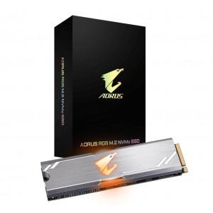 Gigabyte AORUS RGB M.2 PCIe NVMe SSD 512GB - 3480/2000 MB/s 360K/440K IOPS 3D NAND TLC Heatsink 1.8 Mil MTBF 5yrs Wty TRIM SMART AES 256