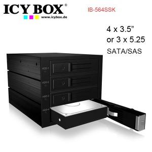 "ICY BOX Backplane for 4x 3.5"" SATA or SAS HDD in 3x 5.25"" bay IB-564SSK"