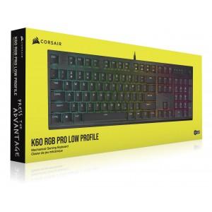Corsair K60 RGB PRO LOW PROFILE Mechanical Gaming Keyboard, Backlit RGB LED, CHERRY MX Low Profile SPEED Keyswitches, Black
