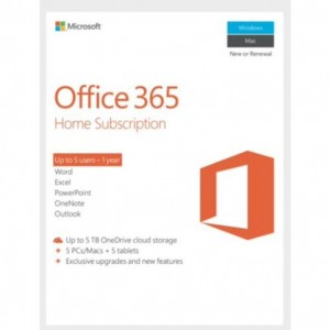 Microsoft Office 365 Home ,  License Software, 1 Year Subscription, 5 Devices, 32bit/64bit, Medialess, PC & Mac. (Win 10 Only)