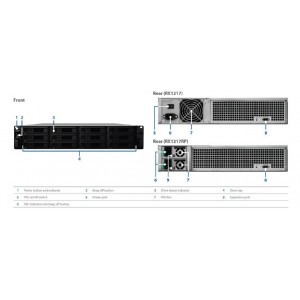 """Synology Expansion Unit RX1217RP 12-Bay 3.5"""" Diskless NAS (2U Rack) (SMB/ENT) for Scalable NAS Models RS3617 ( With Redundant Power Supply)"""