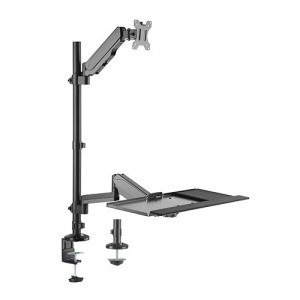Brateck Pole held floating Sit- Stand Desk Converter with Single Monitor Mount Fit Most 17' -32' Monitors Up to 8kg,  Keyboard Up to 1 kg