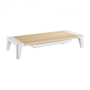 Brateck White Birch Monitor Riser with Increased Height and Drawer