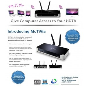 McTiVia Wireless Network Streamer PC or Mac to TV