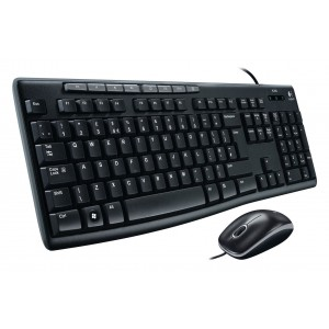 Logitech MK200 Multi Media USB Keyboard & Mouse Slim Wired Combo Set Desktop PC 920-002693