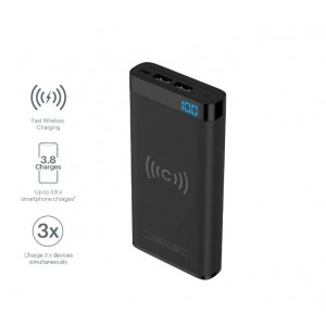 CYGNETT CHARGEUP SWIFT 10K WIRELESS POWERBANK BLACK, FAST WIRELESS CHARGING (10W), DUAL USB, DIGITAL DISPLAY