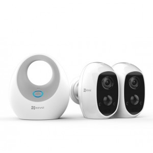 EZVIZ C3A+W2D:1+2, Battery Camera Bundles, HD 1080p Wire-Free Security Kit, 5500mAH Rechargeable Battery, Worry Less with Longer Battery Life
