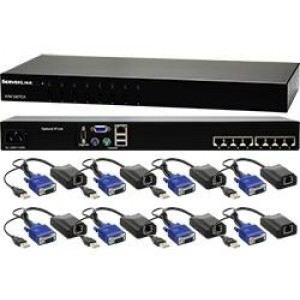 ServerLink 8 Port CAT 5 KVM Switch-VGA USB & PS/2 w/8 x USB/VGA CAT5 Dongles